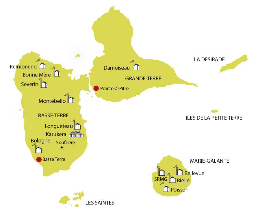 La Route du rhum en Guadeloupe : Carte des distilleries