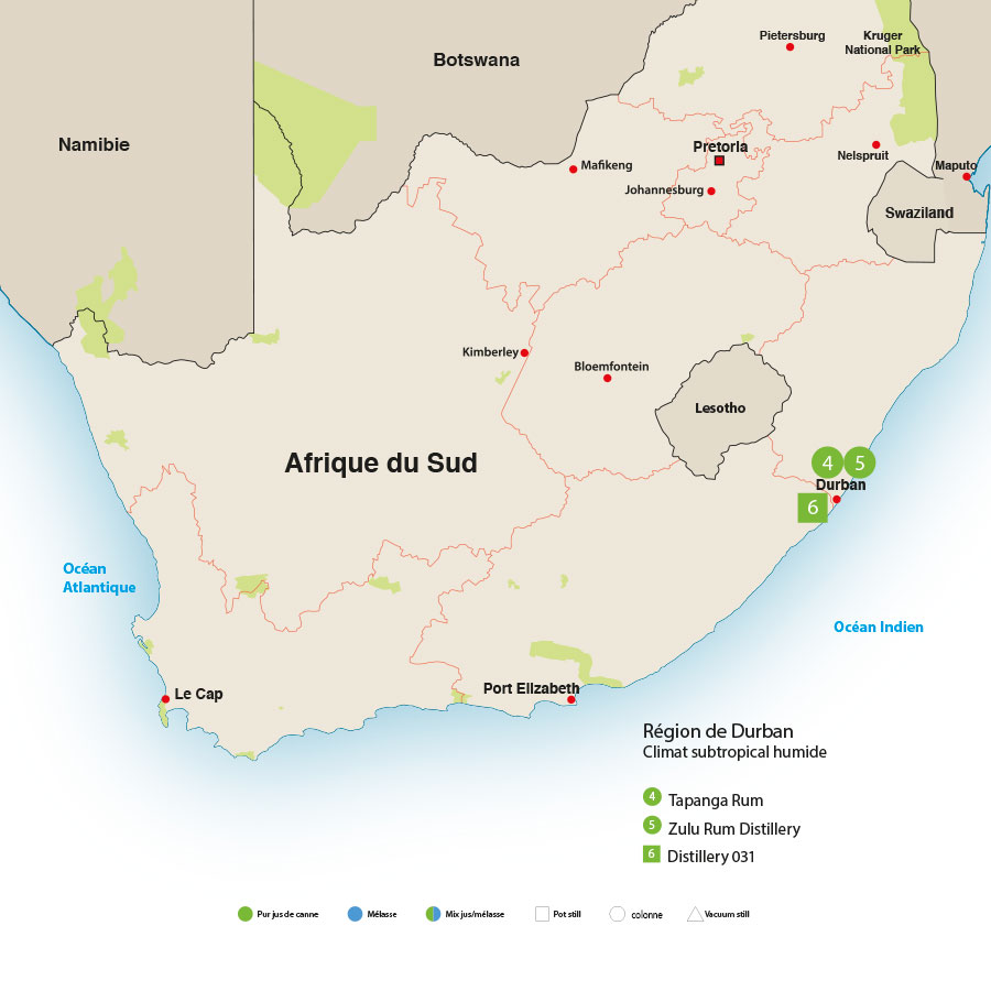 carte rhums Afrique du sud
