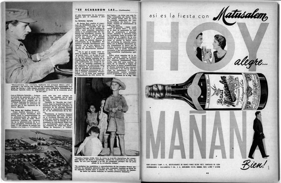 Troublante confrontation de deux réalités cubaines en 1959 - Extrait du magazine 'La Bohemia - Edición de la Libertad' – Janvier 1959 - Source : The Desired Revolution and the New Man – Pedro P. Porbén