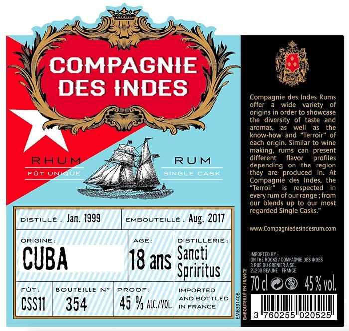 Compagnies des Indes - Cuba Sancti Spiritus 18 ans