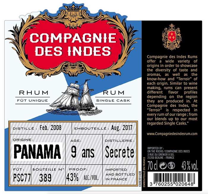 Compagnies des Indes - Distillerie Secrète 9 ans
