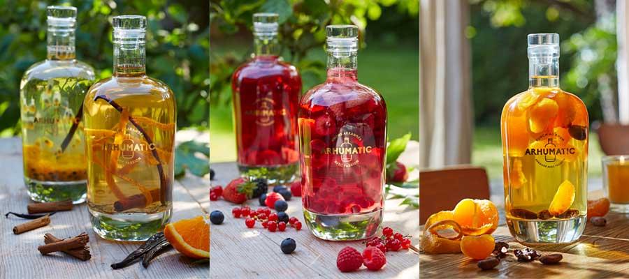 Les rhums arrangés Arhumatic s'étendent des fruits frais aux aromates