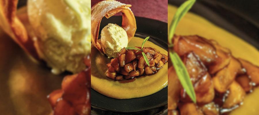 Recette à base de rhum : Pomme golden au caramel au HSE Ananas Victoria/Thé Vert/Citron Vert